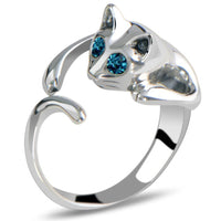 Cute Cat Silver Color Crystal Blue Eyes Ring for Women (Adjustable)
