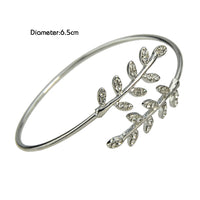 Concise Rhinestone Leaf Open Cuff Bracelet for Women