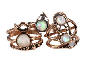 5PCS/Set Vintage Bohemian Retro Color Ring for Women