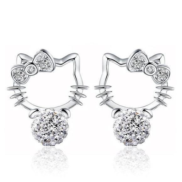 Crystal Cat Shaped Imitation Pearl Stud Earrings For Women