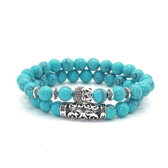 Antique Buddha Head Charm with Turquoises Beads Unisex Bracelet