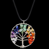 Tree of Life 7 Chakra Stone Beads Natural Pendant Necklace for Women