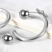 Silver Stainless Steel Star Piercing Nose Ring - sparklingselections