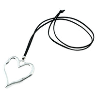Long Suede Leather Alloy Heart Pendant Necklace