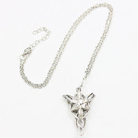 Zircon Silver Plated Evenstar Arwen Pendant Necklace for Women