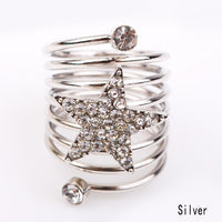 Silver Zinc Alloy Multi layers Star Ring for Women