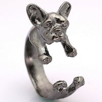 Retro Handmade French bulldog Rings Wrap Ring for women (Adjustable)