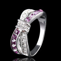 Purple CZ Gold Filled Criss Cross Ring (6,7,8,9,10)
