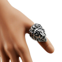Trendy Titanium Steel Lion Head Animal Ring