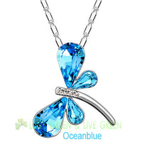 Austrian Crystal dragonfly butterfly Pendant Necklace for Women
