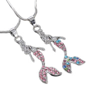 Trendy crystal Rhinestone Mermaid Statement Pendant Necklace for Women
