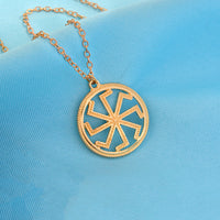 Silver Gold Sun Talisman Pagan Pendant Necklace for Women