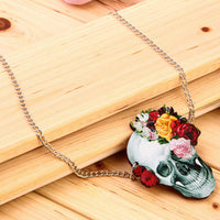 Wood Acrylic Rose Skull Skeleton Pendant Unisex Chain Necklace