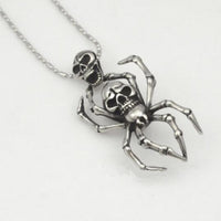 Titanium Stainless Steel Spider Body Skeleton Head Unisex Pendant Necklace