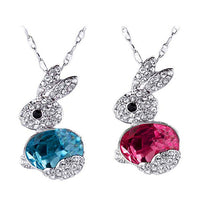 Delicate Rhinestone Little Rabbit Pendant Necklace for Men