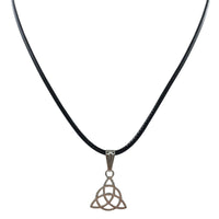Black Leather Simple Little Triangular Boho Pendant Necklace for All