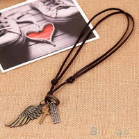 Vintage Angel Wing Leather Pendant Necklace for Men (1SBO 6OGP)