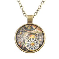 Retro Clock Gear Shape Round Glass Pendant Necklace for Women