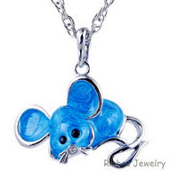 Antique Alloy colorful enamel Mouse Pendant Necklace for Women