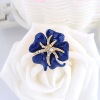 Bridal Big Rose Enamel Dark Blue Ring  for Women