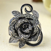 Retro Unique Silver Plated Rose Rings for Women
