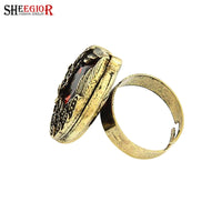 Punk Bronze plated Big Rhinestone Wings Ring for Men (Size JP:8)