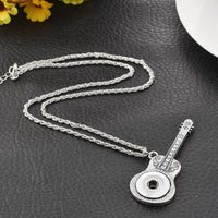 Rhinestone Guitar Pattern Pendant Necklace for Men