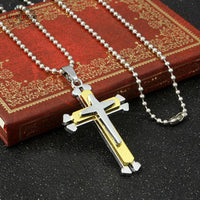 Stainless Steel Cross Unisex Pendant Necklace