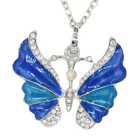 Trendy Crystal Butterfly Long Necklace for Women