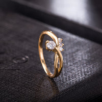 Exquisite Zircon Gold Color Ring for Women