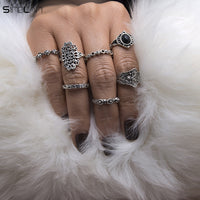 7pcs / set Black Resin Fatima Hand Hollow Flower Bohemian Ring For Women