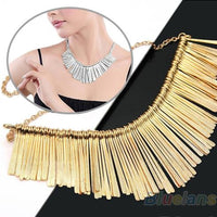 Metal Multilayer Chain Tassel Choker Bib  Necklace 02I4