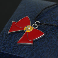 Red Bowknot Tie Pendant Necklace for Men and Women