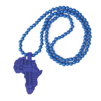 Blue Bead Necklace With African Map Pendant