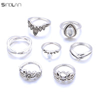 7pcs / Set Bohemian Big Water Drops Crystal Resin Ring For Women