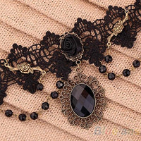 Lolita Gothic Black Flower Lace Choker Necklace for Women