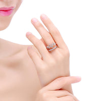 Gold Color CZ Women Open Party Finger Ring (Adjustable)