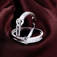 Silver Color Heart Wedding/Engagement Ring for Women (Adjustable)