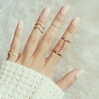 6pcs Tiny Tassel Crystal Feather Leaf Midi Finger Rings (R056)