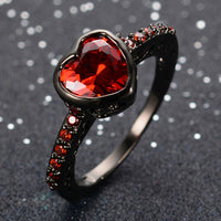 Black Gold color Filled Rhinestone Bijoux Femme Promise Rings for Women