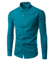 Mens Long Sleeve Casual Solid Color shirt size mlxl