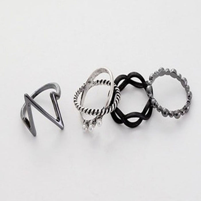 4pcs/set Charm Simulated-Pearl Lightning Finger Rings for Women