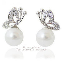 Pearl Rhinestone Butterfly Design Ear Studs for Women