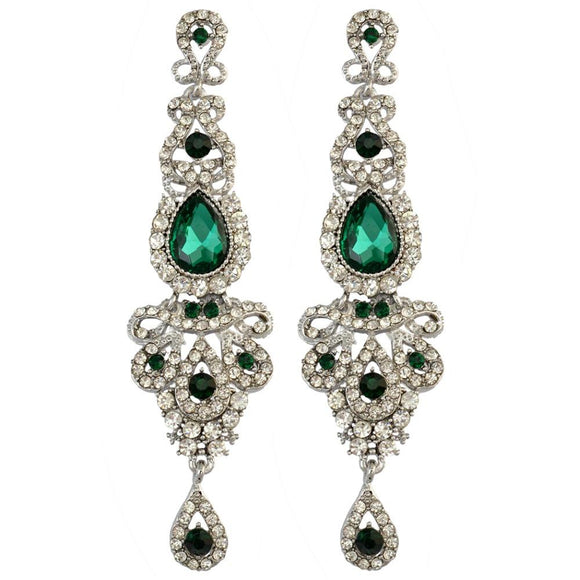 Green Crystal Metal Bridal Long Earrings