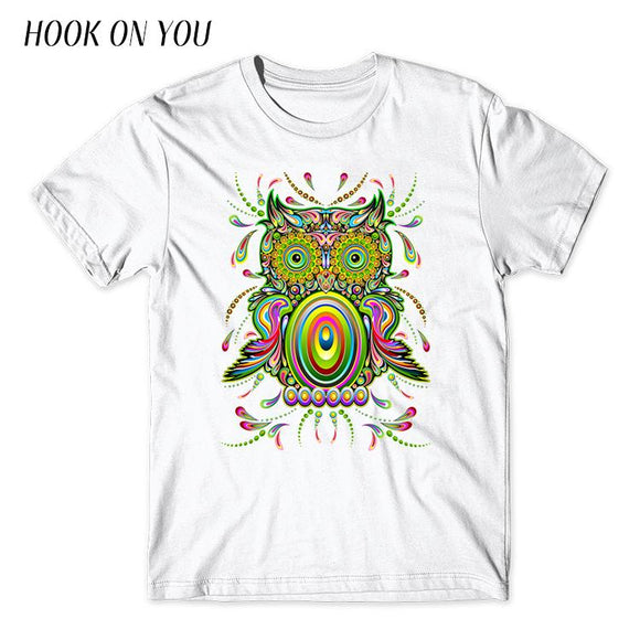 Owl Psychedelic Pop Art Printed T-Shirts