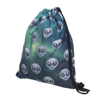 new space alien printed mini backpack for travel
