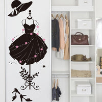 new Black Color Girl's Formal Dress Wall Sticker - sparklingselections