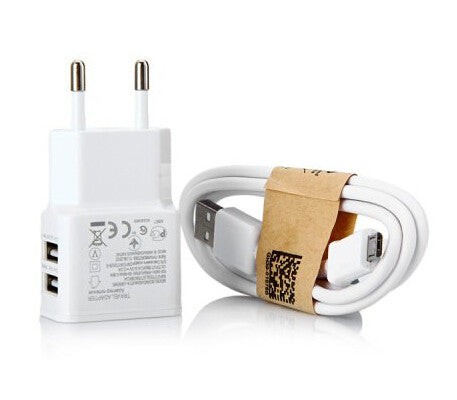 White Two in One Dual USB Outputs Power Adapter With USB