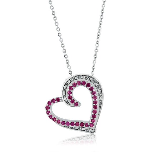 New Beautiful Heart Shape Created Ruby & Accent Jewelry Set