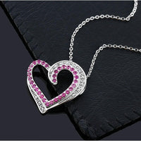 New Beautiful Heart Shape Created Ruby & Accent Jewelry Set - sparklingselections